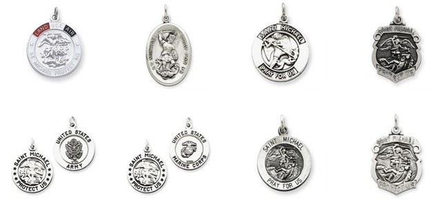 White Gold St. Michael Medals