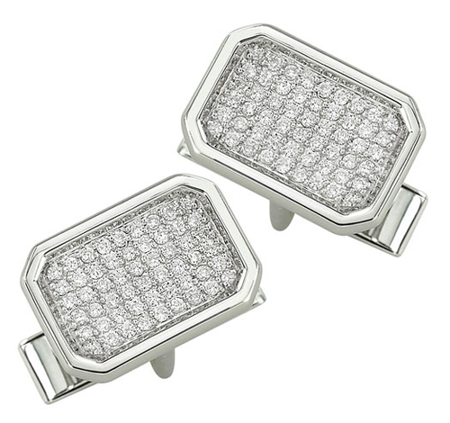 White Gold Diamond Cuff Links