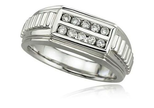White Gold Mens Diamond Ring