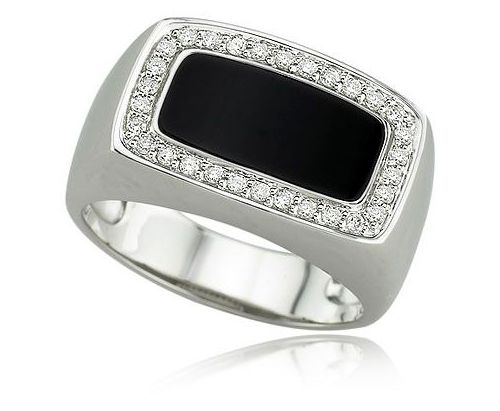 White Gold Mens Onyx Diamond Ring