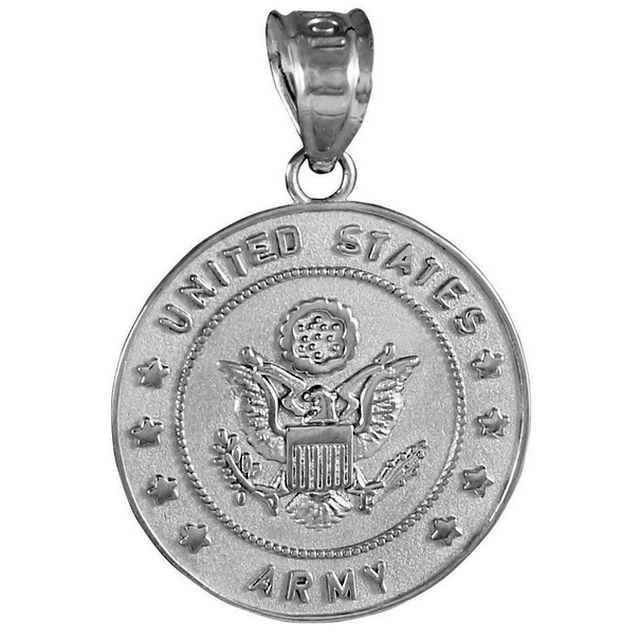 White Gold US Army Military Pendant