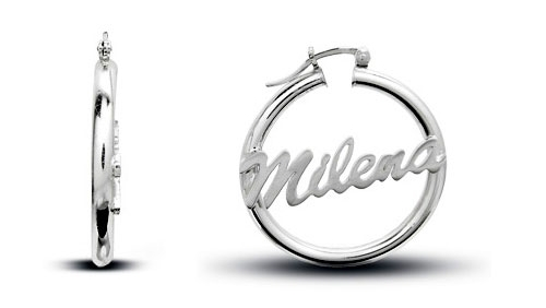 White Gold Name Hoop Earrings