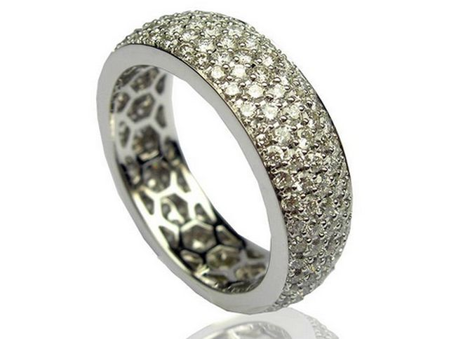White gold diamond encrusted wedding band